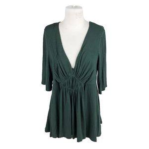 Deletta Large Green Deep V Neck Tunic Blouse